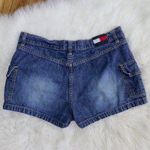 Vintage Tommy Hilfiger Flag Logo Jean Shorts Y2K